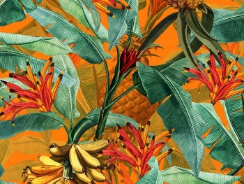 טפט טרופי בננות כתום - Tropical Leaves Pineapples and Bananas