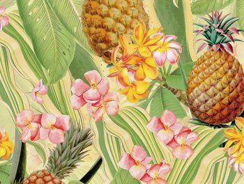 טפט אננסים Tropical Leaves Pineapples and Plumeria Flowers – Soft